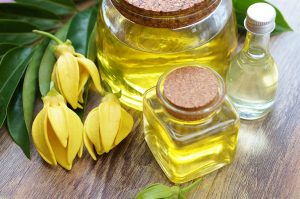 ylang ylang essential oil with flowers