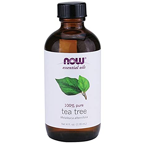 tea tree essential oil bottle from NOW oils