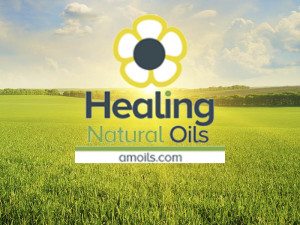 field, sunrise and blue sky with healing natural oils logo