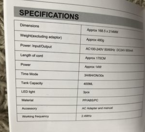 diffuser specifications