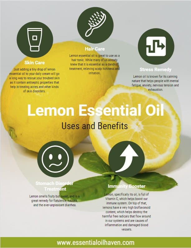lemon essential oil infographic