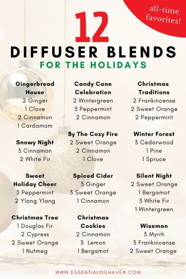 12 diffuser blend recipes for Christmas