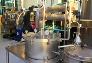 distillation of essential oils in a factory