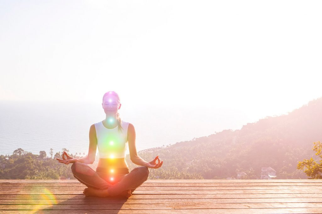 chakra centres in peaceful woman