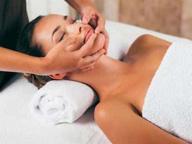 gentle face massage with essential oils