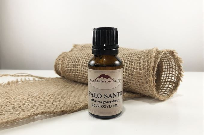 palo santo essential oil bottle