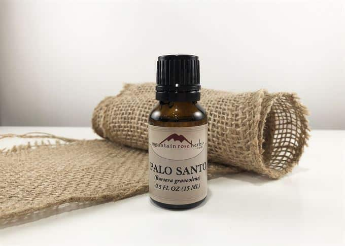 palo santo essential oil bottle