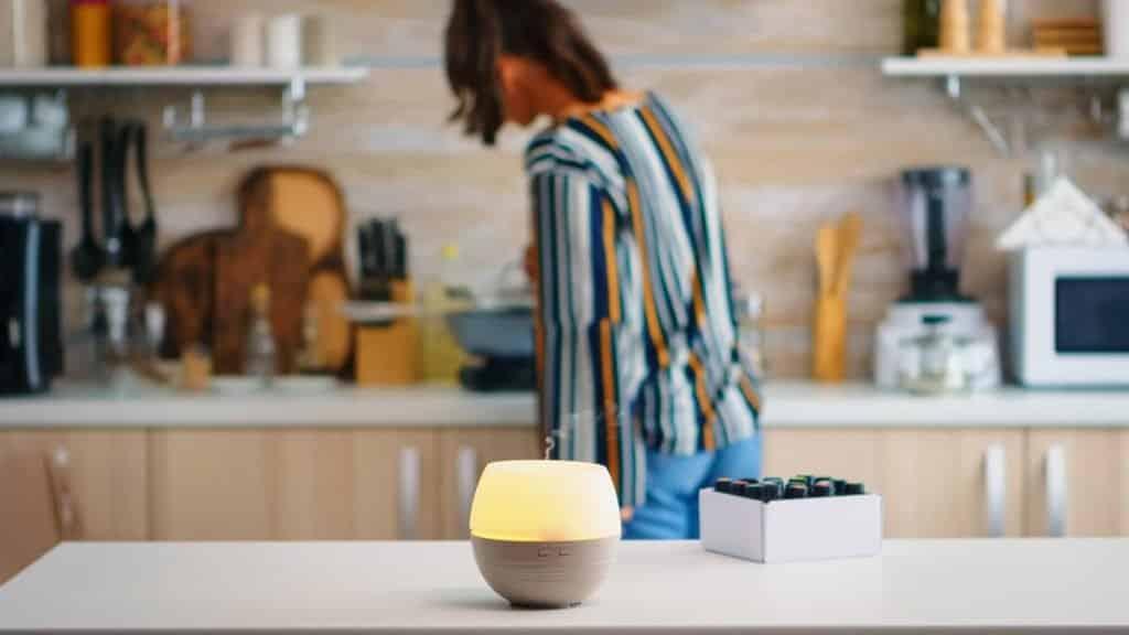 essential oil diffuser in home kitchen